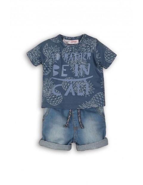 Komplet niemowlęcy t-shirt i jeansowe spodenki