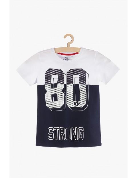 T-shirt chłopięcy granatowo-biały Strong