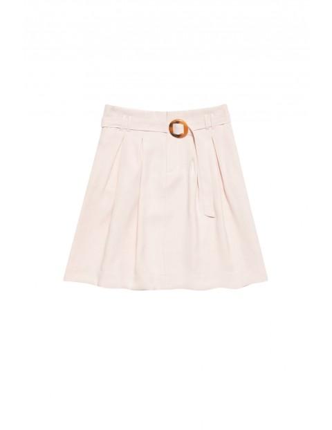 Spódnica damska typu bombka z ozdobnym paskiem różowa