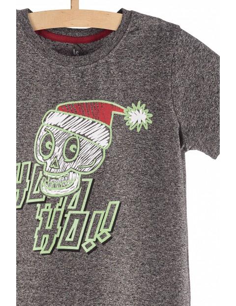 T-Shirt chłopięcy szary z napisem ho ho ho