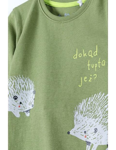 Bawełniane body niemowlęce na długi rękaw z polskim napisem - DOKĄD TUPTA JEŻ ? - zielone