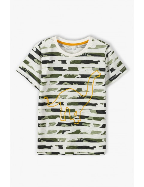 T-shirt chłopięcy moro z dinozaurem - 100% Bawełna