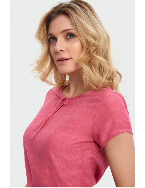 Bluzka damska na krótki rękaw z wiązaniem przy dekolcie