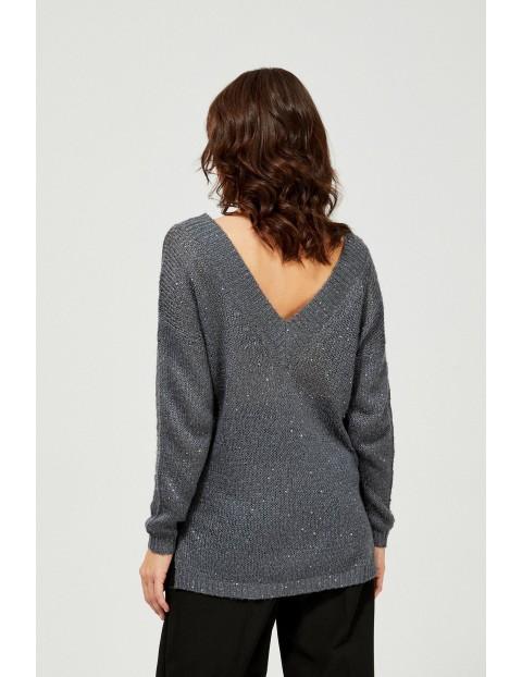 Sweter damski z cekinami- szary