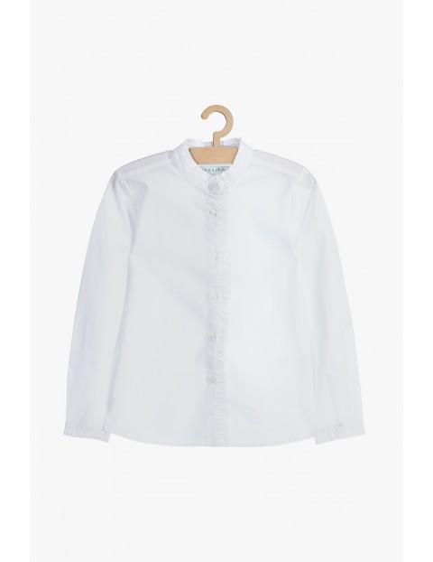 Biała elegancka koszula dziewczęca ze stójką