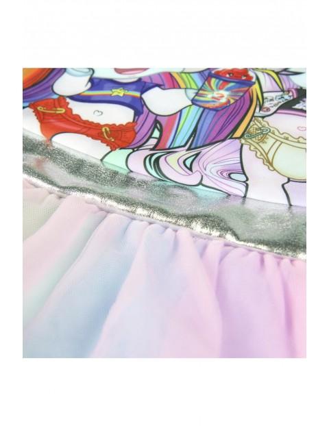 Tęczowy strój kąpielowy z tiulową falbanką Poopsie
