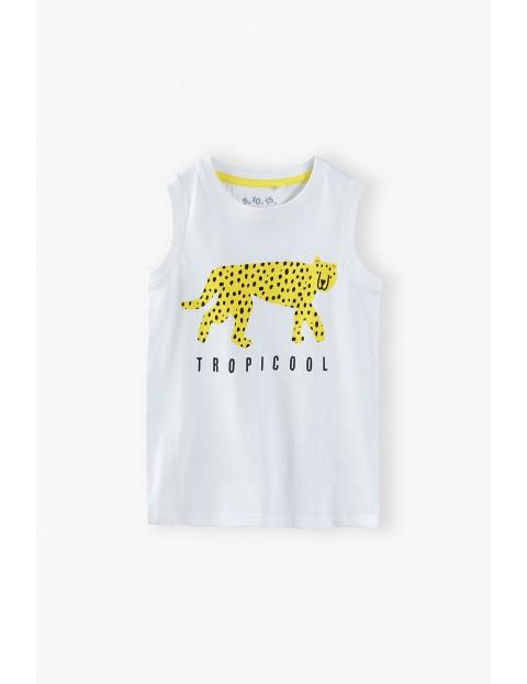 T-shirt chłopięcy ecru z tygrysem