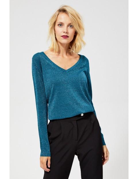 Sweter z metaliczną nitką  - zielony
