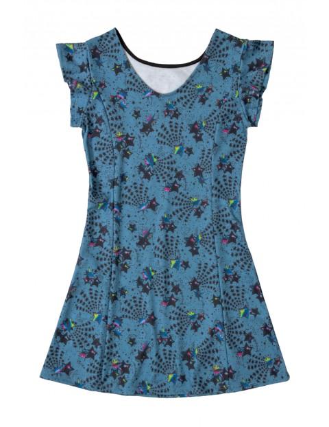 Sukienka dziewczęca niebieska w gwiazdki
