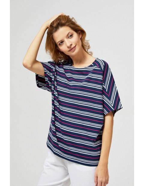 Bawełniana bluzka typu oversize w paski