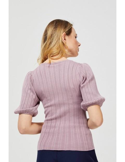 Sweter damski w paski - rózowy