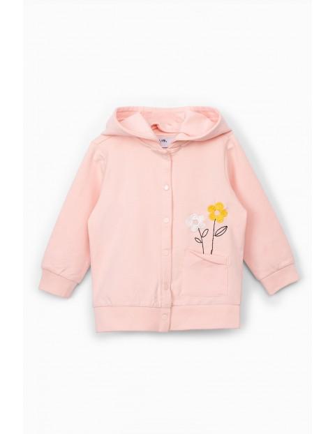 Bluza dresowa niemowlęca - różowa z ozdobną aplikacją
