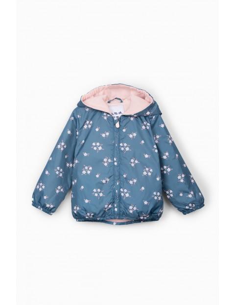 Kurtka przejściowa niemowlęca niebieska w kwiatki