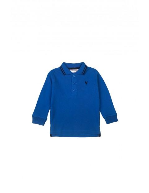 Bluzka niemowlęca bawełniana z kołnierzykiem niebieska