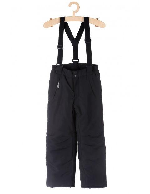 Spodnie narciarskie granatowe z elementami odblaskowymi