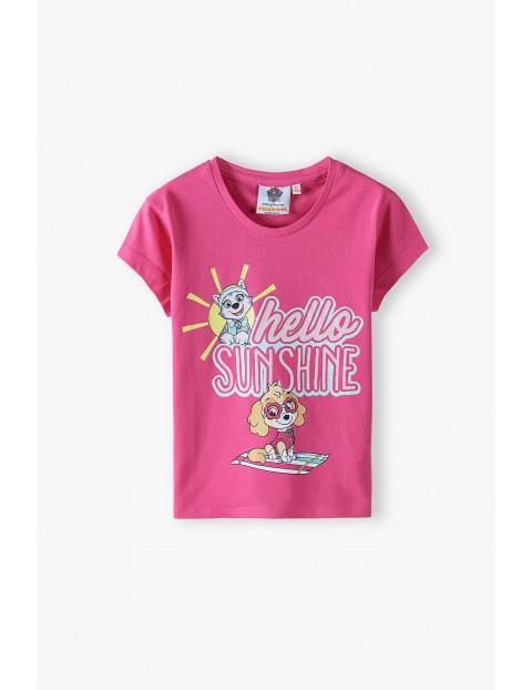 T-shirt dziewczęcy Psi  - różowy