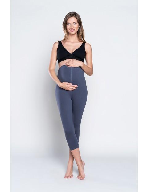 Legginsy damskie ciążowe krój 3/4 III trymestr - grafitowe