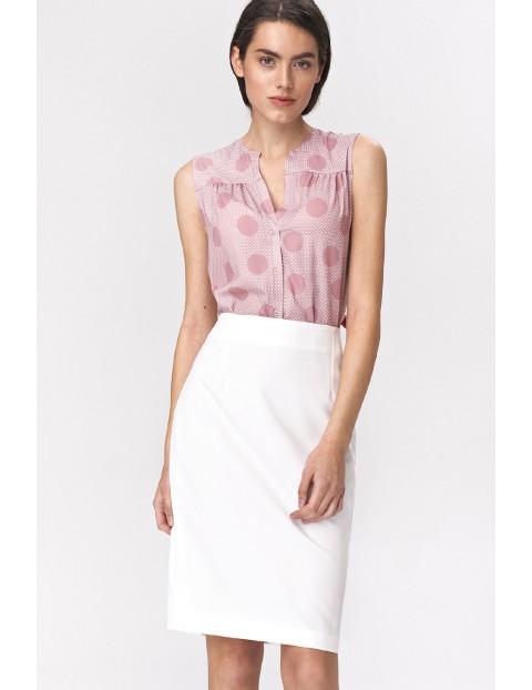 Bluzka damska różowa bez rękawów w grochy