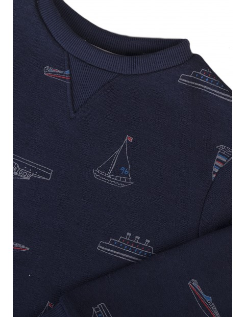 Granatowa bluza dresowa w łódki