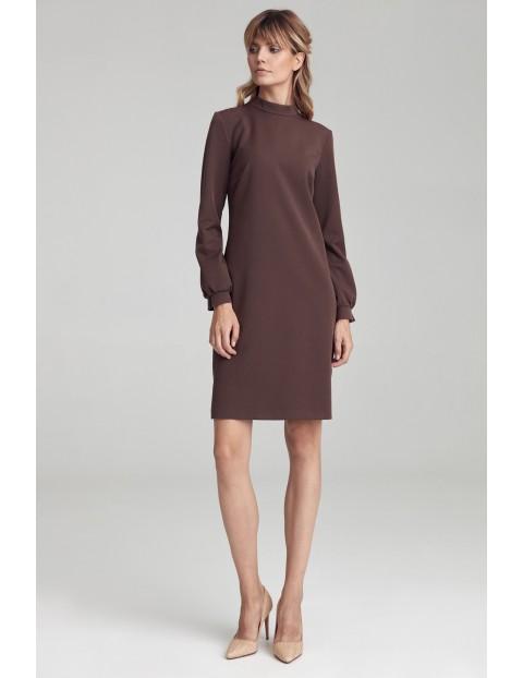"""Sukienka w literę """"A"""" z półgolfem - brązowa"""