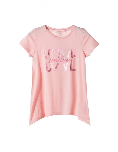 Koszulka dziewczęca z asymetrycznymi bokami