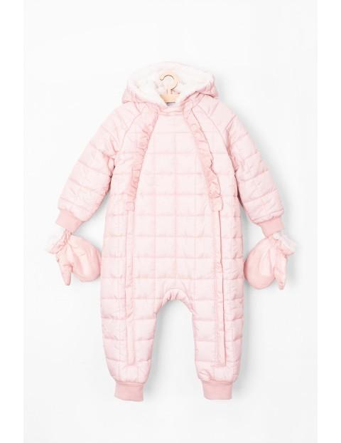 Kombinezon zimowy dla dziewczynki- różowy pikowany