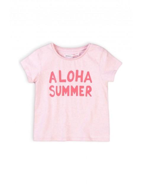 T-shirt dziewczęcy różowy z napisem Summer