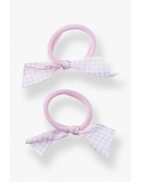 Gumki do włosów- różowe w kratkę 2szt