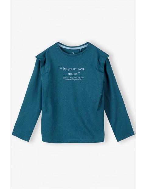 Bawełniana zielona bluzka dziewczęca z napisami