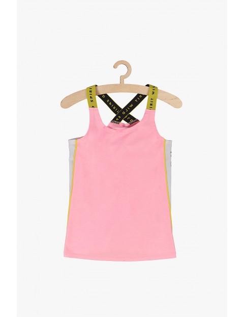 Bluzka dziewczęca różowa z modnymi wstawkami