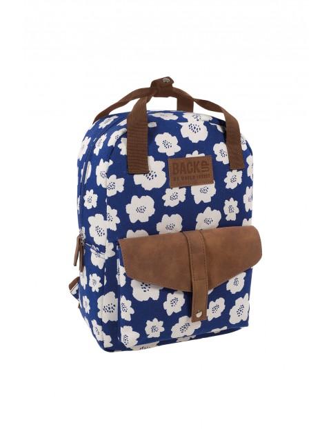 Plecak CANVAS BACKUP - niebieski w kwiaty