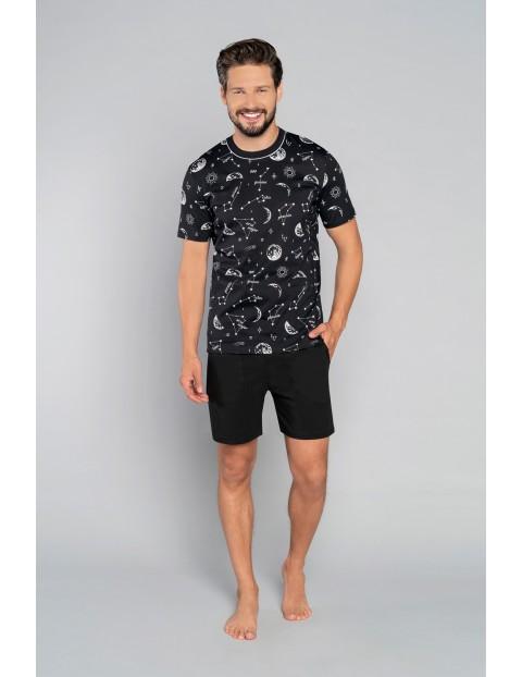 Bawełniana piżama męska we wzorki - czarna