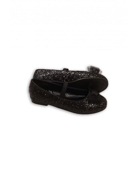 Buty dla dziewczynki- czarne brokatowe baleriny