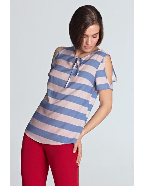 Bluzka damska w fioletowe paski - odkryte ramiona