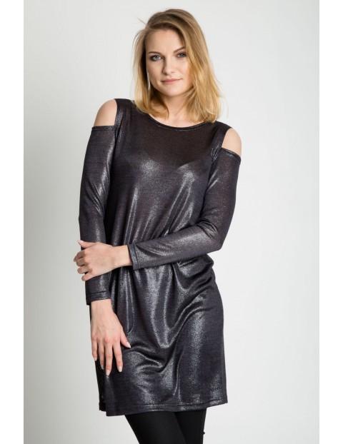 Srebrna sukienka tuba z długim rękawem