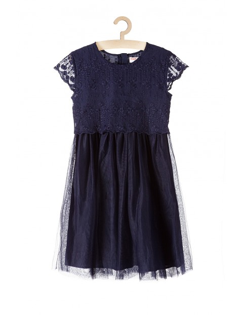 Sukienka granatowa dziewczęca z koronką