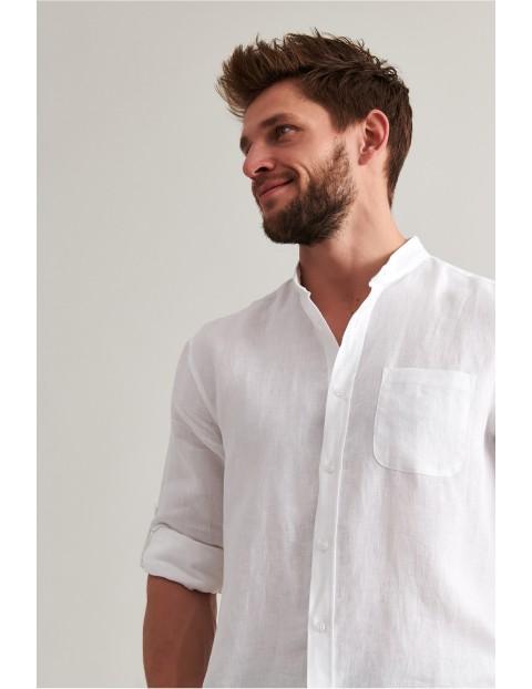 Lniana koszula męska z długim rękawem - biała