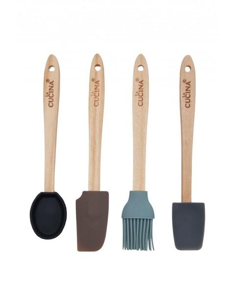 Zestaw kuchenny- łopatka łyżka szpatuła pędzelek silikonowy - 4 sztuki