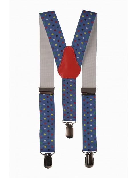Szelki do spodni- niebieskie w kolorowe kropki