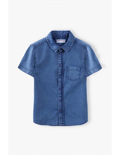 Koszula chłopięca jeansowa z krótkim rękawem