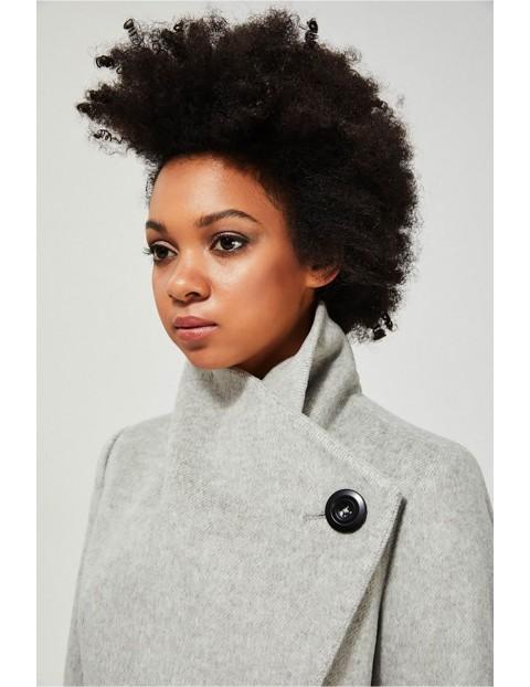 Elegancki płaszcz z możliwością podpięcia kołnierza i wiązaniem pasie - szary