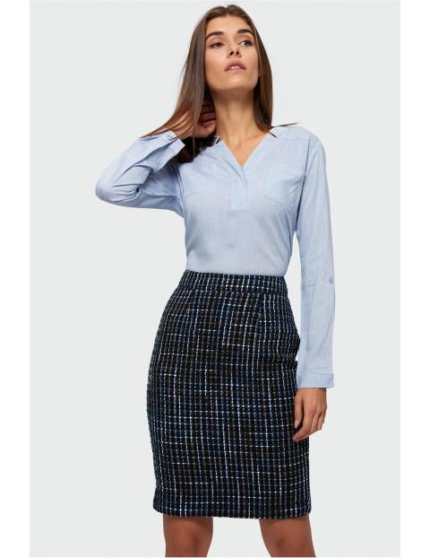 Bluzka koszulowa damska- niebieska z długim rękawem