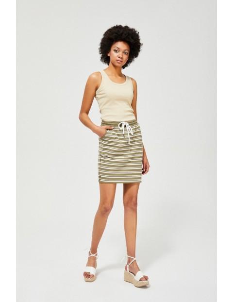 Spódnica damska bawełniana w paski oliwkowa