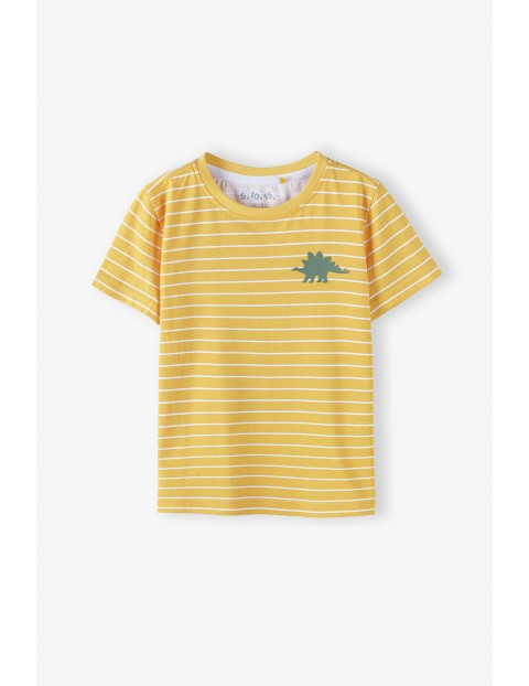 Bawełniany t-shirt chłopięcy w kolorze żółtym w paski Dino