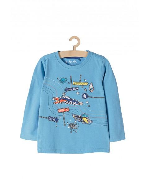 Bluzka chłopięca dzianinowa- niebieska z kosmicznymi pojazdami