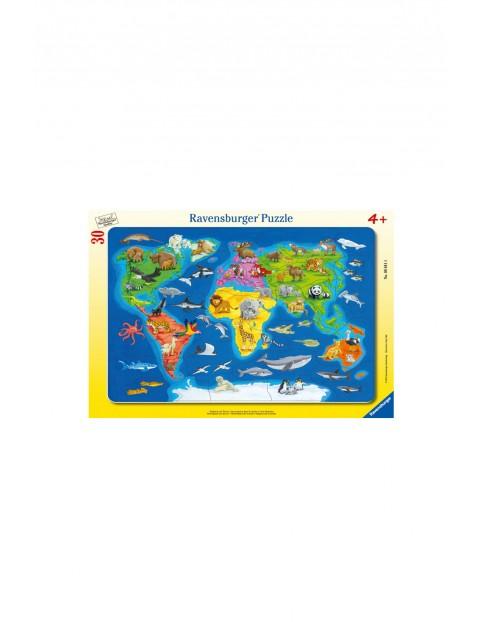 Puzzle Mapa Świata Zwierząt - 30 elementów 4+
