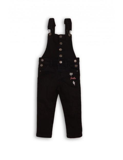 Spodnie ogrodniczki dziewczęce- czarne