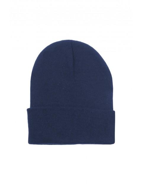 Klasyczna czapka męska na zimę - granatowa