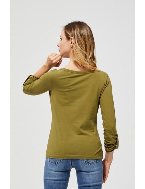 Bluzka damska  z podwijanymi rękawami - oliwkowa