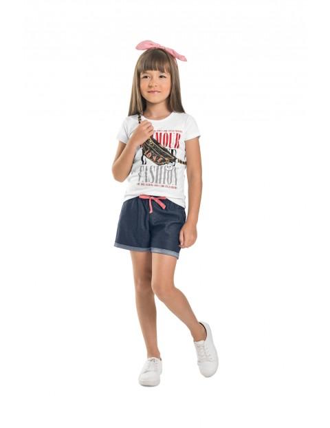 T-shirt dziewczęcy biały z nadrukiem